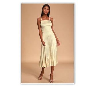 Lulu's Satin Dress Champagne Give Us A Twirl
